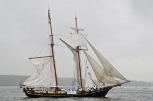 """Segel """"auf Halbmast"""": während der Parade wird mit dröhnenden Schiffshörnern und deutlichen Gesten der Unmut über oft unklare und teilweise willkürliche gesetzliche Auflagen zum Ausdruck gebracht."""